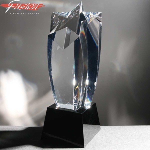 Fusion Crystal Shooting Star Crystal Awards In Velvet Lined Presentation Case
