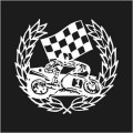 Motor Bike and Wreath Logo